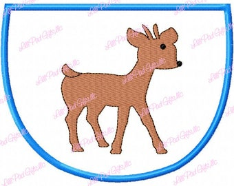 Baby Spike Deer Applique Frame - Fill - Machine Embroidery Design - 7 Sizes