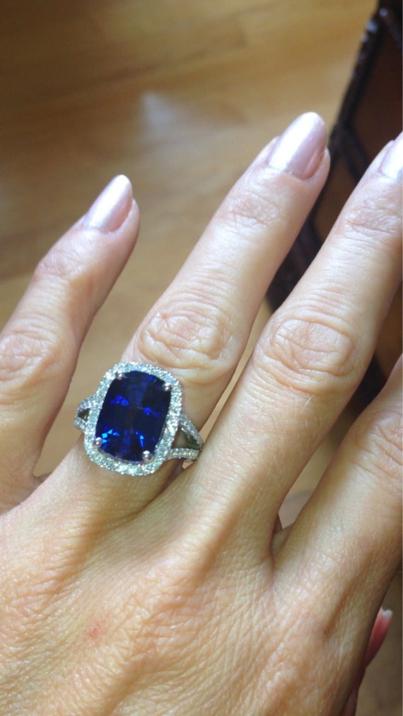 sapphire gold carat cushion diamond cut white engagement blue in halo ring and