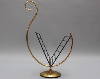 Rare Swan-Shaped Italian Brass Magazine Stand (c. 1950s)