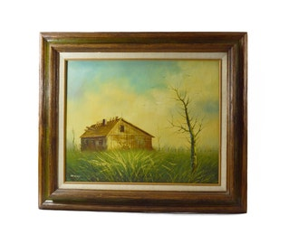 Farmhouse Painting Americana Picture Little House in the Meadow Art Country Decor Shabby Boho Art Oil Painting Bohemian Decor Grassy Knoll