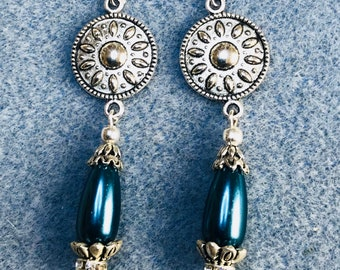 Antique silver and pearl drop earrings