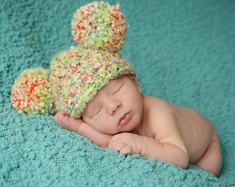 Baby Hat 11 Colors 3 to 6 Month Baby Girl Hat Baby Boy Hat Pom Pom Hat Pom Pom Baby Hat Ear Hat Photo Prop Photography Prop for Babies