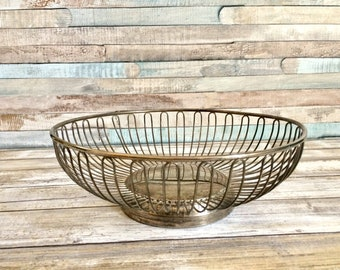 Vintage Wire Bowl, Tarnished Silver Plated Basket