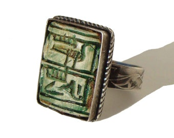 Vintage Hieroglyphic Silver Ring Ancient Egyptian Faience – Adjustable