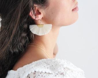 Earrings cream tassels & half moon gold plated, 14kt gold filled jewelry boho, Bohemian, gift woman by Myo Jewel