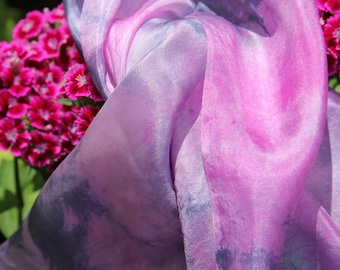 Silk Scarf Grey Pink Hand Painted Neck Silk Scarf  Hand Dyed Silk Scarf Long Women Gift  for Mom  Scarf inspirational gifts Silk Shawl