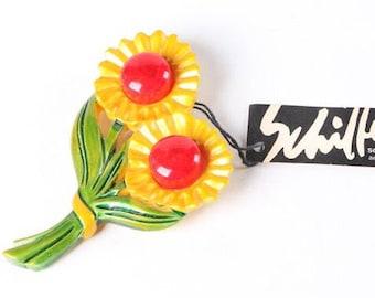 Vintage Bill Schiffer flower brooch pin. Wearable art