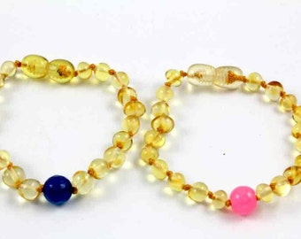 NATURAL BALTIC AMBER Baby Teething Bracelets or Anklets for Twins