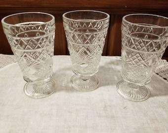 Vintage, 3  Peanut Butter, Hazel Atlas, 1950's Jiff, Stemware, Wine Glass,  Water Glass