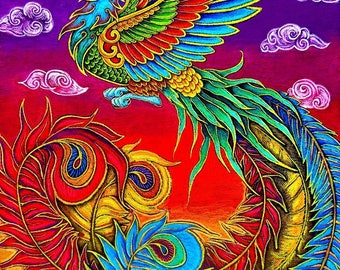 Fenghuang Chinese Phoenix Rainbow Bird Giclée Fine Art Print