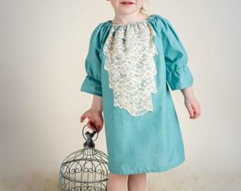 Girls peasant dress - girls dresses - boho dress - boho dress baby - blue dress - bohemian dress - boho flower girl dress - Summer dress