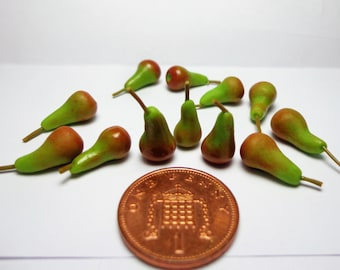 Dolls House Miniature Fruits  Pack Of 10 Conference Pears