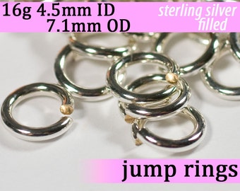 16g 4.5mm ID 7.1mm OD silver filled jump rings -- 16g4.50 jumprings links silverfilled silverfill