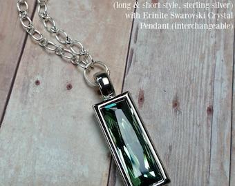 Locking Chain, D/s BDSM Discreet Locking Submissive Collar, Erinite Swarovski Pendant Slave Jewelry, Made To Order 8843