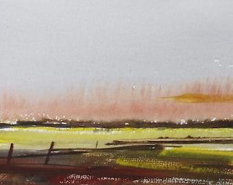 DAWN RAIN FIELDS Warwickshire, 2015. Original Watercolour Landscape Painting.