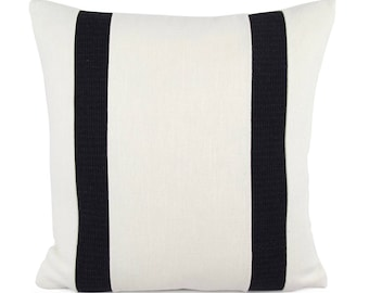 Off-White and Black Stripe Pillow Cover, 18x18, 20x20, 22x22, 24x24 Modern Throw Pillow, Contemporary Cream Cushion, Two Toned Pillow Sham