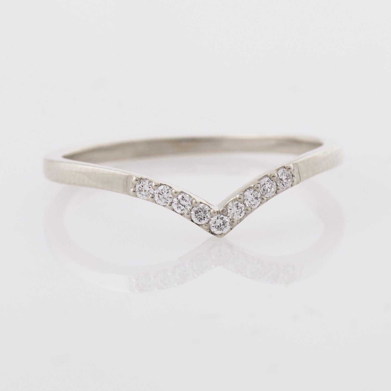 Chevron Ring 14K White Gold Diamonds Ring V Shaped Ring