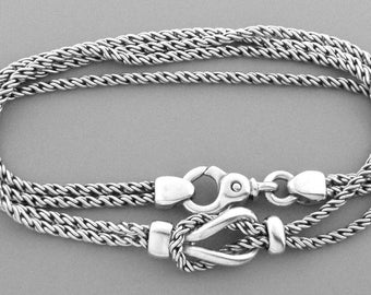 Tiffany Sterling Silver Double Chain Love Knot Necklace