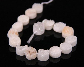 16PCS strand,12mm White AB Titanium Natural Quartz Geode Drusy Flat Round Coin Cabochons,Agate Druzy Slice Slab Nugget Beads Pendant Jewelry