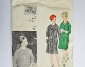 1960s Vogue Mattli Of England Sewing Pattern 1204 Womens Vintage Retro Straight Coat, Button Front, Kimono Sleeves Size 14