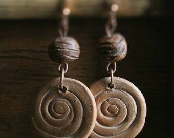 Earrings Ceramic Jewelry Rustic VORTEX Gift Bridesmaid Earrings Gift Earrings Holiday Gift Jewelry