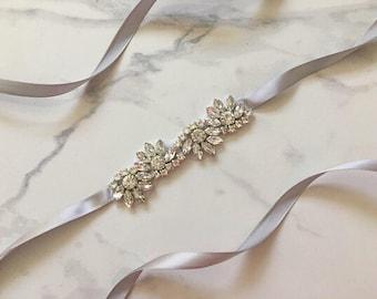 Silver Bridal Belt | Wedding Belt | Silver Bridal Sash | Wedding Sash | Rhinestone Bridal Belt | Bridal Accessories | Wedding Accessories