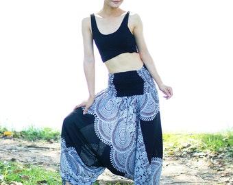 Black Harem Pants Thai Pants, Rayon Pants, Boho Strenchy Pants, Elastic Waist Clothing Beach Women Baggy Casual NP5269