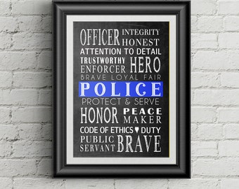 Thin BLue Line Police Officer Gift  Law Enforcement Officer Gift Police Wall Art Decor Police Poster