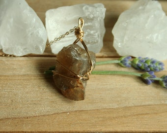 """Golden Topaz Pendant with 18"""" 14k Gold Fill Chain"""