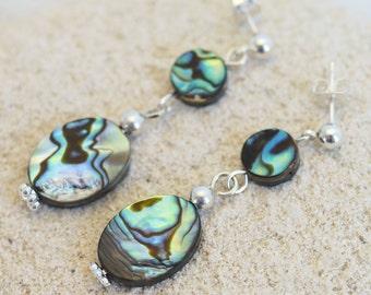 Abalone earrings; paua shell earrings; iridescent blue seashell earrings; multicolor shell bead earrings; post earrings, gift for her