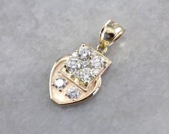 Unique Diamond Cluster Pendant, Diamond Pendant, Diamond Anniversary, Diamond Birthstone, Cluster Pendant 213ZQW-N