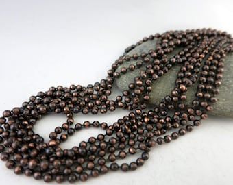 2.4mm COPPER BALL CHAIN, Hand Oxidized and Sealed, 2 Ft to 20 Ft,  Copper Connector with each Foot of Chain, Bulk Chain