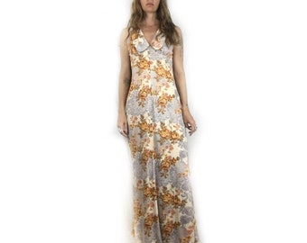 Vintage 60s 70s Sleeveless floral maxi dress // size small // retro boho indie alternative hipster summer festival wedding