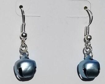 Fishhook Earrings,Jingle Bell Earrings, Blue Jingle Bells Earrings, Blue, winter, winter Earrings, Light Blue Jingle Bell Fishhook Earrings
