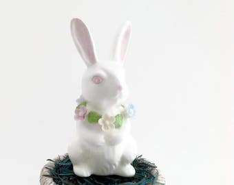 Vintage Easter Rabbit with Flower Wreath - Bone China Easter Rabbit Figurine