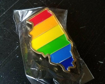 Illinois Gay Pride Enamel Pin