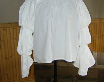 Pirate Wench Gypsy Renaissance Blouse Chemise Costume White