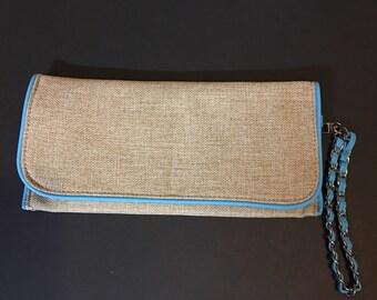Jute clutch bag with Aqua blue trim
