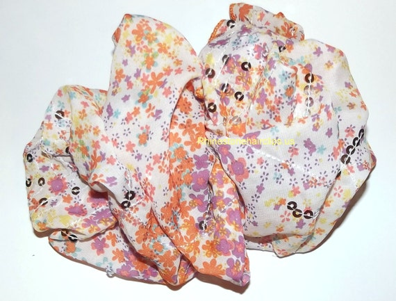 Becky Bows ~ Barrette rhinestones huge Scarf BIG hair bow Women or Girls giant  orange/white floral