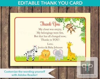 INSTANT DOWNLOAD Editable Jungle Baby Shower Thank You Card, Printable Jungle Thank You Card, Editable Safari Thank You, Baby Shower, P9