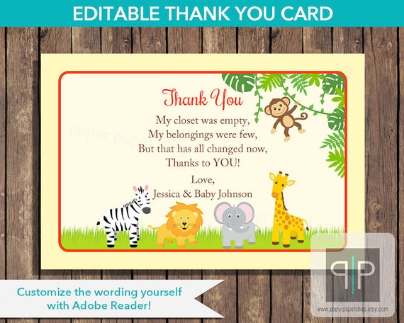 Super INSTANT DOWNLOAD Editable Jungle Baby Shower Thank You Card TS15