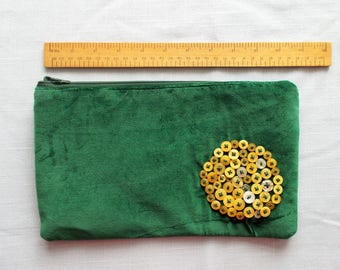 Green Velvet Clutch Purse Make Up Bag Very Fancy Pencil Case