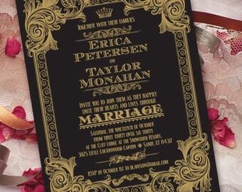 wedding invitations, wedding invitations with rsvp, black and gold wedding invitations, formal wedding invitation, black tie wedding, IN225