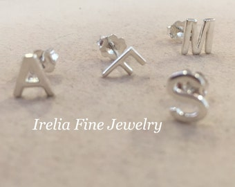 Sterling Silver Single Initial  Stud Earring **Choose Your Inital  --Free Shipping ---