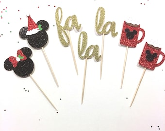 Disney Inspired Mickey Christmas Cupcake Toppers / Food Picks / Christmas Party / Holiday Party