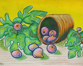 Still Life with Figs Original Painting on Canvas 40x30cm