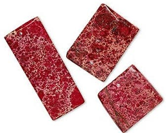 233 - Magnasite, 40x25mm to 43x24mm, Rectangle, Red - Package of 2