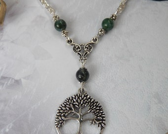 Tibetan Silver Celtic Tree of Life & Green Moss Agate Gemstone Bead Necklace Chakra/Wiccan/Pagan UK