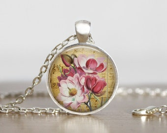 Pink Flower Music Pendant Necklace, Pink Flower Music Art Pendant Jewelry
