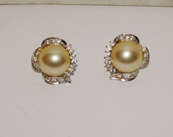 Sterling Vintage Pearl with Swarovski Crystal Earrings